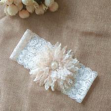 Vintage Lace Pearl Rhinestone Wedding Bridal Garter Ivory Flower