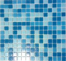 Mosaik Fliesen mix hellblau/blau Glas mit Effekt Spots Bad WC Wand Art 52-0402_b