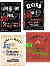 Personalised Bottle Label Whiskey Jack Daniels Inspired Black & Honey Fire