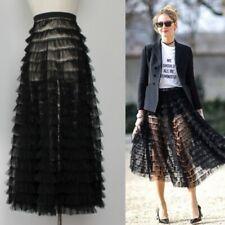 Ladies Perspective Cake Skirt High Waist Mesh Bubble skirt A-Linen Skirts S,M,L