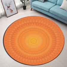 Orange Mandala Flower Bedroom Round Carpet Floor Non-Slip Room Bath Door Mat Rug