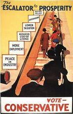 Vintage 1929 Conservative Party Escalator to Prosperity Poster A3/A2/A1 Print