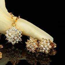 Set Kette Anhänger Ohrringe Zirkonia weiß 750er Gold 18 Karat vergoldet S2057