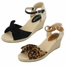 Ladies Leopard & Black Open Toe Wedge Savannah Sandals F1R0889