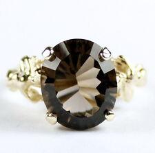 • R154, 6 carat Smoky Quartz, 10k Yellow Gold Angel Ring -Handmade