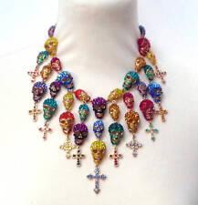 Butler and Wilson Multi Crystal Skull Shower Cross Necklace