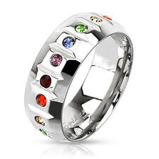 Ring Stainless Steel Rainbow Zirconia Pride Multicoloured Stones Gems Sterling