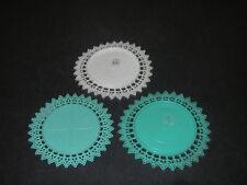Mid-Century Retro BARWARE 3 Coasters Plastic Filigree White Turquois