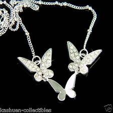 w Swarovski Crystal Bridal 3 BUTTERFLY Bride Family Friends Pendant Necklace NEW