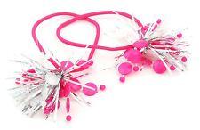 Zest Navidad Oropel de Plata con bandas Discos Pelo Motas Rosa Y Blanco