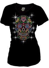 Bling Bling Sugar Skull Rhinestone T-Shirt,w Heart & Neon Studs S~3XL Short Slve