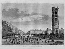 Stampa antica Old Print PARIGI Paris Boulevard Sebastopol Francia 1860