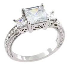 Princess Cut 3 Stone CZ Cubic Zirconia 925 Sterling Silver Bridal Fashion Ring