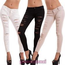 Damenhosen skinny tücken ripped dichte bunt elastisch neu H309