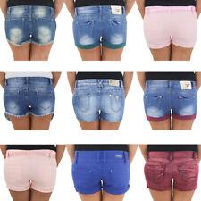 Damen Hot Pants Hotpants Jeans Shorts Kurze Hose Sommerhose Capri Hüft Stretch #