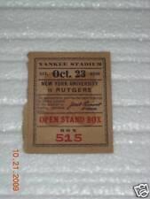 1926 Ny Univ vs. Rutgers Football Ticket 10-23-1926