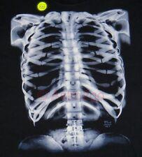 GLOW X-RAY SKELETON-Bones Ribs Anatomy Biology Science Halloween Tshirt S-XL NEW