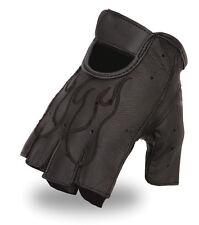 Men's Flame Embroidered Gel Palm Fingerless Glove w/ Adjustable Wrist Strap