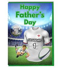Día Del Padre Rugby Insignia Tarjeta para Abuelo - Elija Cualquier Equipo Camisa