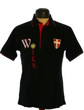 La Camisa Trachtenpolo Shirt Polo Tracht Wappen Wien Stickerei schwarz Gr 48