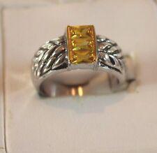 NEW Designer Inspired Wheat Band, Yellow Topaz Cyrstal Emerald Cut Ring