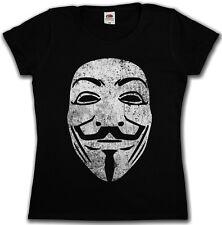 GUY FAWKES MASK VINTAGE GIRLIE SHIRT - V For Wie Anonymous Vendetta Maske Girl