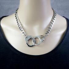 Massive Damen Edelstahl Halskette Collier mit Handschellen Verschluß 10mm Kette