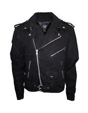 Men's classic motorcycle biker jacket blk denim jean jacket.