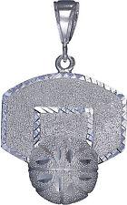 Sterling Silver Basketball Backboard Charm Pendant Necklace Diamond Cut Finish