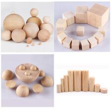 Natürliches Holz Runde Kugeln Zylinder Halbquadrat Würfel Blöcke DIY Hartholz