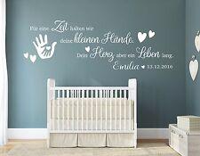 Wandtattoo Kinderzimmer NAME Baby Geburt Wandspruch Wunschname pkm191-Name Datum