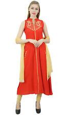 Rayon De Femmes Costume Rouge Brodé Ethnique Indienne Avec L'Ensemble Dupatta