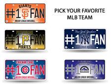 MLB Teams - #1 Baseball Fan Metal License Plate Tag Auto Car Truck Wall