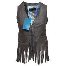 3230Q gilet donna BULLY ANTIK DARK smanicato waistcoat woman frange