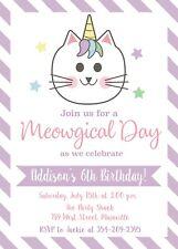 Unicorn, Cat, Kitten, Caticorn, Birthday Party Invitation, Party, Invite