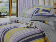 Kids Cotton Grey&Lilac Comforter Cover/Duvet Cover Set Queen Yellow Tan Stripe