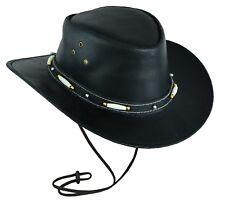Black classic western style cowboy leather hat Australian style hat UK Stock