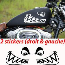 2 stickers autocollant dent de requin réservoir moto sportive custom shark
