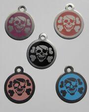 Médaille acier PIRATE gravée pour animaux chien  - 5 couleurs 32 mm
