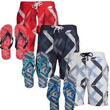 Men's Smith & Jones Diffraction Holiday Beach Swim Shorts + Flip Flops S M L XL