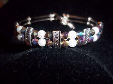 Tibetan Silver Fashion Jewelry White Pearl Black AB Crystal Bead Bracelet BB-29