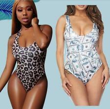 Woman Monokini Leopard USD Money Printed Sleeveless Backless Swimsuit S-2XL