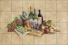 Wine Tile Backsplash Ceramic Mural Broughton Kitchen Cellar Art EC-RB001