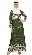 Bimba islamique vert Abaya imprime numerique Burqa femmes robe avec Hijab
