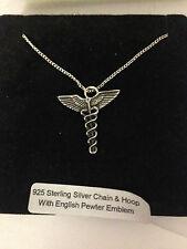 Caduceus R107 Emblem on a 925 Sterling Silver Necklace 16,18,20,26,30