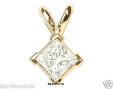 Beautiful Princess Cut Solitaire Diamond Pendant 14K