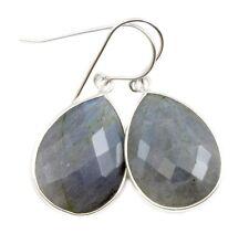 Labradorite Earrings Blue Teardrops  Large Bezel drops 14k Gold Sterling