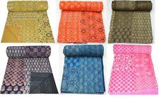 Indigo Kantha Quilt Bedspread Bedding Single/Double Handmade Patchwork Cotton Ar
