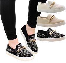 Ladies Womens Flats Plimsolls Sneakers Diamante Skater Pumps Trainers Shoes Size