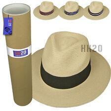 Straw Fedora Sun Hat - Panama Trilby Style Crushable Mens Ladies & Travel Tube